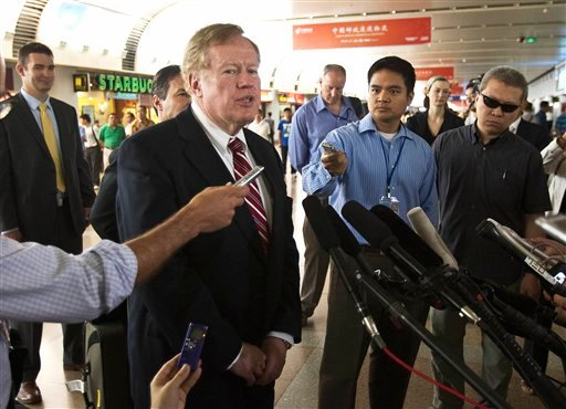 Robert King, the U.S. envoy for North Korean human rights issues, speaks to journalists upon arrival at Beijing Capital Airport in Beijing, China Saturday, May 28, 2011.
