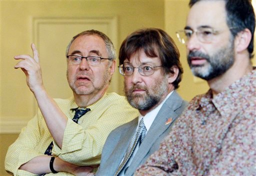 From left, Dr. Gary Richwald, attorney Jeffrey Douglas and producer Christian Mann appear at a news conference in Los Angeles, Thursday, May 26, 2011, where they announced the formation of the program Adult Production Health and Safety Services.