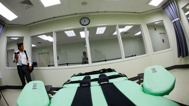 An inmate's view of the interior of the lethal injection facility at San Quentin State Prison in San Quentin, Calif.