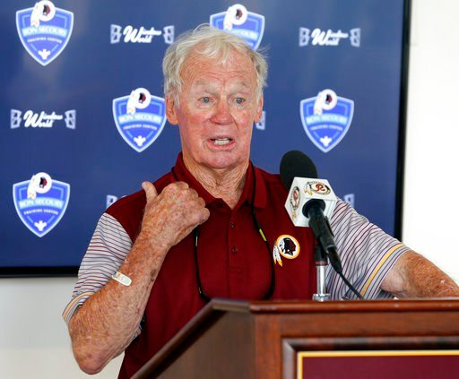 This July 30, 2016, file photo shows former Redskins GM Bobby Beathard, gesturing during a press conference at the Washington Redskins NFL football teams training camp in Richmond, Va.