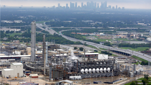 This aerial photo shows the Flint Hills Resources oil refinery near downtown Houston on Tuesday, Aug. 29, 2017. (AP Photo/D1avid J. Phillip)