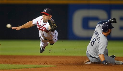 San Diego Padres' Jason Bartlett (8) steals second base as Atlanta Braves second baseman Dan Uggla (26) dives for the errant throw in the sixth inning of a baseball game, Wednesday, June 1, 2011, in Atlanta. (AP Photo/John Bazemore)