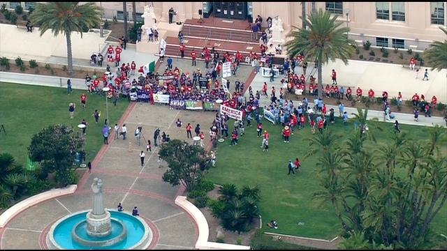 The above images are courtesy of Chopper 8, which was overhead of the Fight for 15 rally in San Diego on Monday, September 4, 2017.