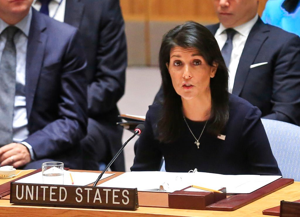United Nations U.S. Ambassador Nikki Haley addresses a U.N. Security Council meeting on North Korea, Monday Sept. 4, 2017 at U.N. headquarters. (AP Photo/Bebeto Matthews)