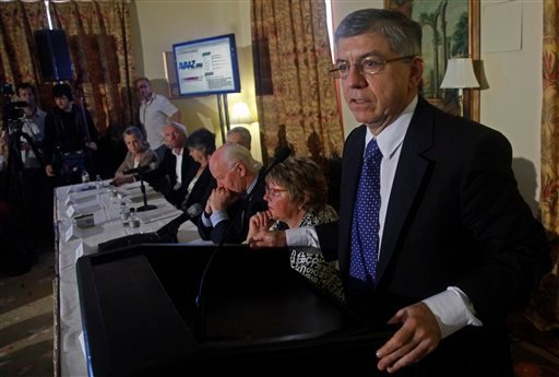 Former Colombian President Cesar Gaviria speaks during a news conference with fellow members of the Global Commission on Drug Policy at the Waldorf Astoria in New York on Thursday, June 2, 2011.