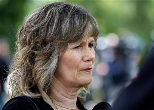 Katie Callaway Hall speaks outside a Placerville, Calif., courthouse Thursday, June 2, 2011. Hall was abducted and raped by Phillip Garrido for 8 hours in 1976. (AP Photo/Ben Margot)