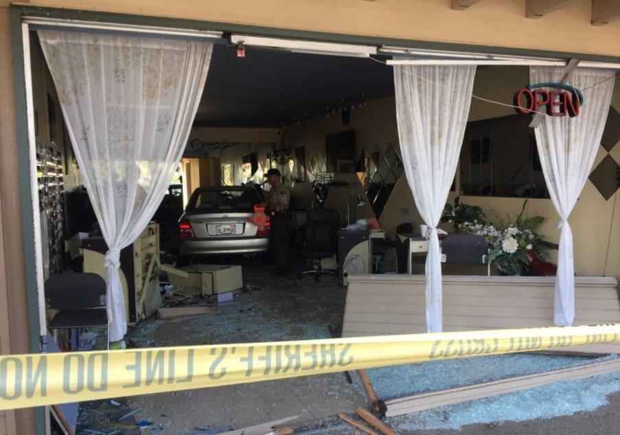 Car crashes into strip mall in Lemon Grove.