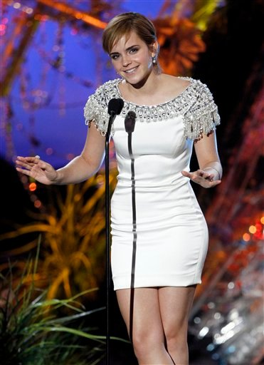 Emma Watson presents onstage at the MTV Movie Awards on Sunday, June 5, 2011, in Los Angeles. (AP Photo/Matt Sayles)