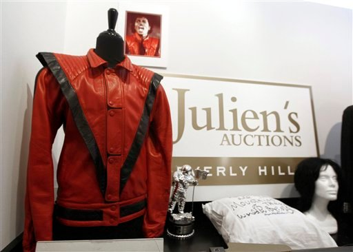 In this May 26, 2011 photo, auction items that belonged to Michael Jackson are displayed at Julien's Auctions in Beverly Hills, Calif. Items are among the memorabilia available for auction on June 25 and June 26, 2011, at Julien's Auctions.