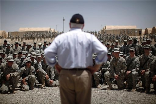 Defense Secretary Robert Gates meets with troops at Forward Operating Base (FOB) Sharana in Paktika Province, Afghanistan, Monday, June 6, 2011.