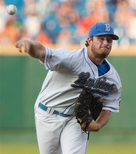 In this June 21, 2010, file photo, UCLA starting pitcher Gerrit Cole delivers against TCU in the first inning of an NCAA College World Series baseball game in Omaha, Neb.