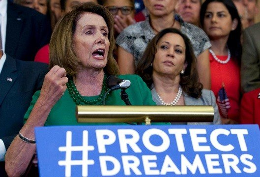 House Minority Leader Nancy Pelosi urged President Donald Trump Thursday to tweet reassurances to the immigrants.