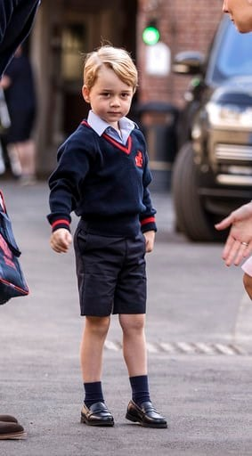 Britain's Prince George arrives for his first day of school at Thomas's school in Battersea, London, Thursday, Sept. 7, 2017.