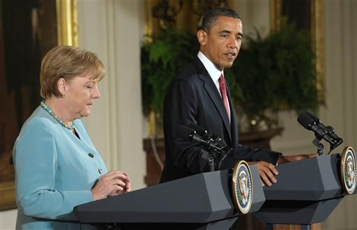 President Barack Obama delivers opening remarks before a joint news conference with German Chancellor Angela Merkel, Tuesday, June 7, 2011, in the East Room of the White House in Washington.