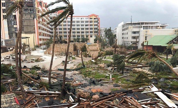 This Sept. 6, 2017 photo shows storm damage in the aftermath of Hurricane Irma in St. Martin.