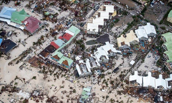 This Sept. 6, 2017 photo provided by the Dutch Defense Ministry shows storm damage in the aftermath of Hurricane Irma, in St. Maarten.