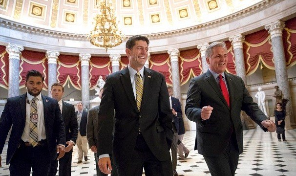 Speaker of the House Paul Ryan, R-Wis., center, and Majority Leader Kevin McCarthy, R-Calif., right.