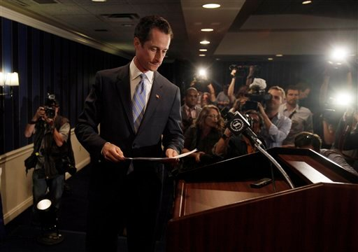 U.S. Rep. Anthony Weiner, D-N.Y., arrives for a news conference in New York, Monday, June 6, 2011.