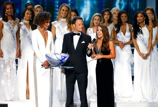 Miss North Dakota Cara Mund answers questions during the Miss America 2018 pageant, Sunday, Sept.10, 2017, in Atlantic City, N.J.