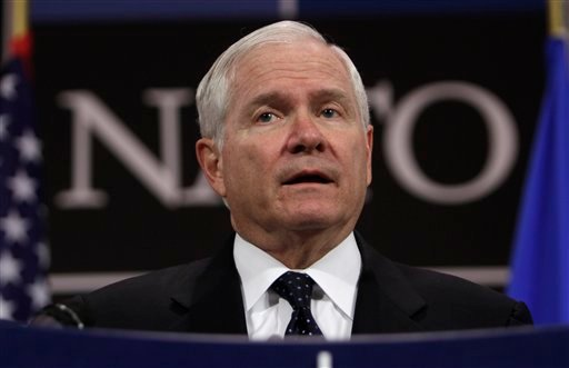 U.S. Defense Secretary Robert Gates speaks during a media conference after a meeting of NATO defense ministers at NATO headquarters in Brussels on Thursday, June 9, 2011.
