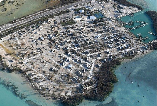 Overturned trailer homes are shown in the aftermath of Hurricane Irma, Monday, Sept. 11, 2017, in the Florida Keys.
