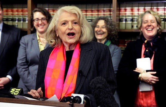 Edith Windsor addresses a news conference at the offices of the New York Civil Liberties Union, in New York.