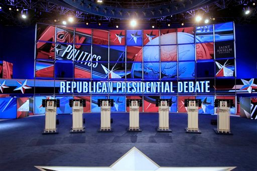The stage is set and seen, Monday, June 13, 2011 in Manchester, N.H., for the evening's Republican presidential debate.