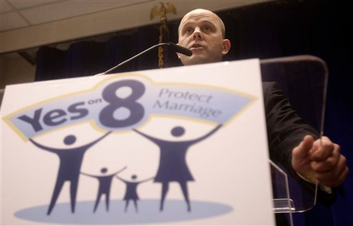 Attorney Austin Nimocks, representing the sponsors of Prop. 8, speaks during a news conference at the Phillip Burton Federal Building in San Francisco, Monday, June 13, 2011.