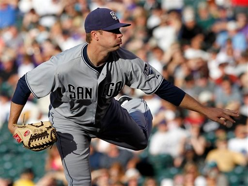 San Diego Padres starting pitcher Wade LeBlanc works the first inning of a baseball game against the Colorado Rockies at Coors Field in Denver on Tuesday, June 14, 2011. (AP Photo/Ed Andrieski)