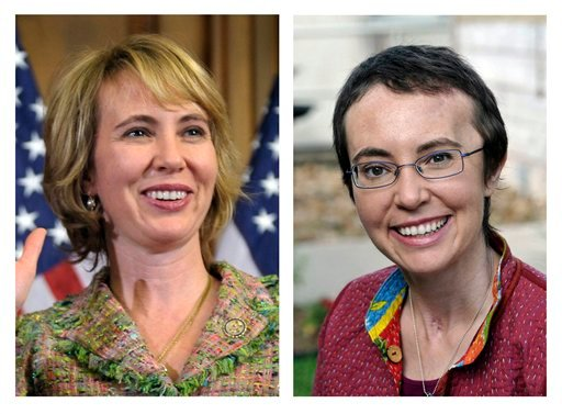 This photo combo shows U.S. Rep. Gabrielle Giffords, D-Ariz. At left, Giffords takes part in a reenactment of her swearing-in on Capitol Hill in Washington, on Jan. 5, 2011. (AP Photo/Susan Walsh/P.K. Weis)