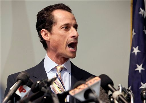 U.S. Rep. Anthony Weiner announces his resignation from Congress, in the Brooklyn borough of New York, Thursday, June 16, 2011. (AP Photo/Richard Drew)