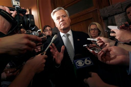 Senate Majority Leader Dean Skelos, R-Rockville Centre, speaks to reporters after meeting with Gov. Cuomo on gay marriage, Thursday, June 16, 2011 in Albany, N.Y. (AP Photo/Mary Altaffer)