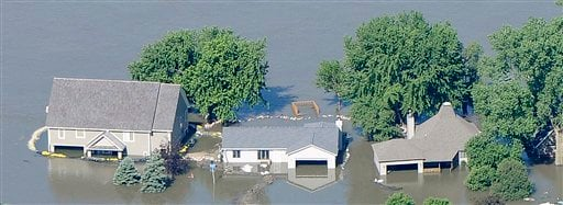 Flooding is shown along the Missouri River in this June 15, 2011 aerial photograph taken over Riv-R-Land Estates in rural Union County, SD. (AP Photo/Sioux City Journal, Tim Hynds)