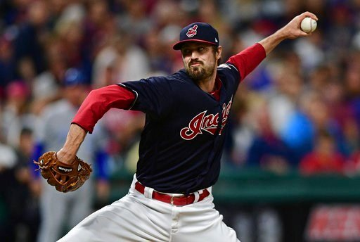 Cleveland Indians relief pitcher Andrew Miller delivers in the seventh inning of a baseball game against the Kansas City Royals, Thursday, Sept. 14, 2017, in Cleveland.
