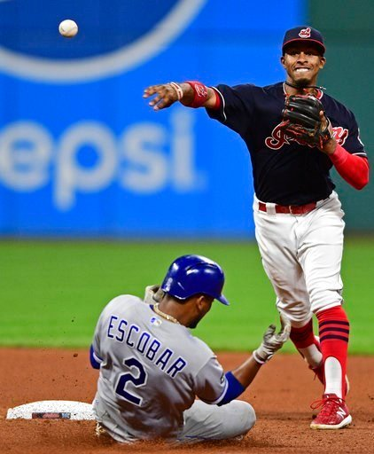 Cleveland Indians' Francisco Lindor throws to first after getting out Kansas City Royals' Alcides Escobar in the seventh inning of a baseball game, Thursday, Sept. 14, 2017, in Cleveland.