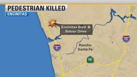 Pedestrian hit by vehicle, killed while crossing Encinitas street