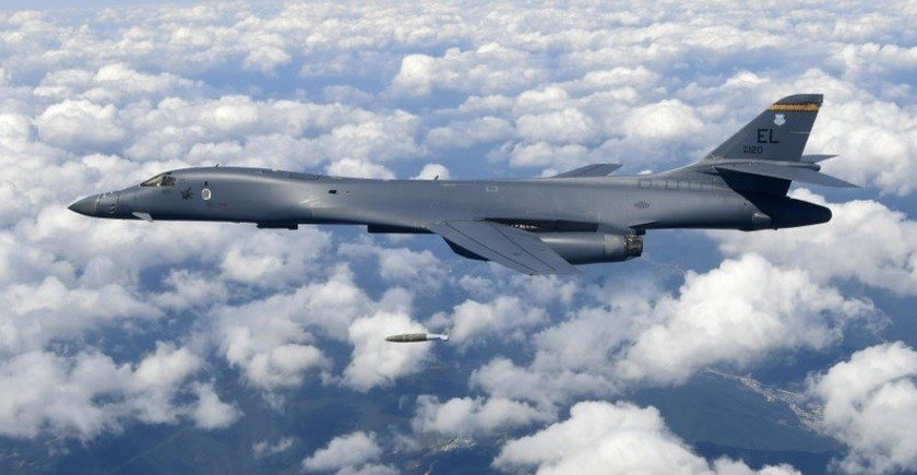 U.S. Air Force B-1B bomber drops a bomb as it flies over the Korean Peninsula during a joint drills, South Korea.