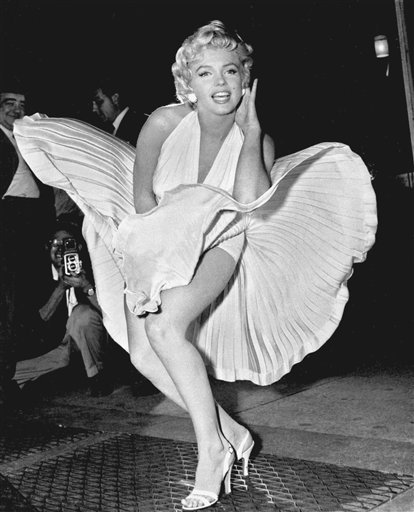 "FILE - In this Sept. 9, 1954 file photo, Marilyn Monroe poses over the updraft of a New York subway grating while in character for the filming of ""The Seven Year Itch"" in New York."
