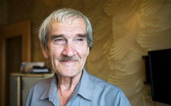 former Soviet missile defense forces officer Stanislav Petrov poses for a photo at his home in Fryazino, Moscow region, Russia.