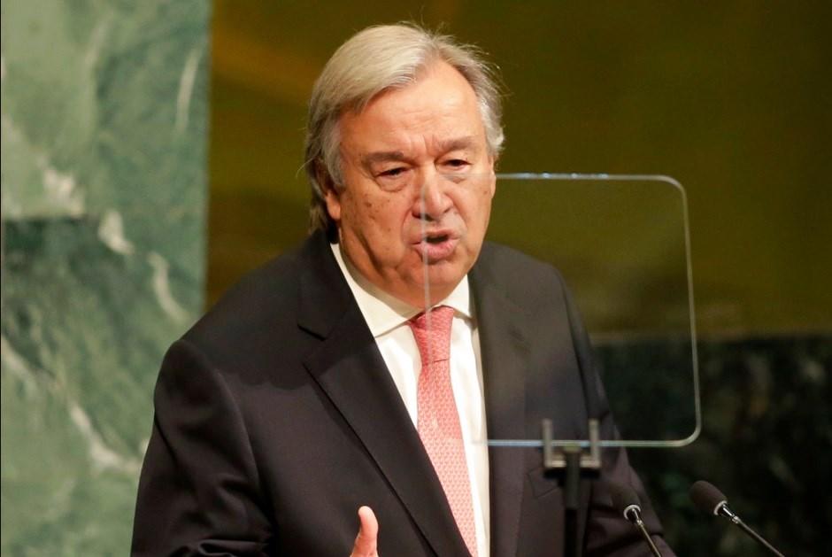United Nations Secretary-General Antonio Guterres speaks during the United Nations General Assembly at U.N. headquarters.