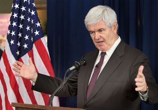 Republican presidential hopeful, former House Speaker Newt Gingrich gestures while speaking during a Town Hall style meeting at the Derry Medical Center in Derry, N.H., Wednesday, May 25, 2011.