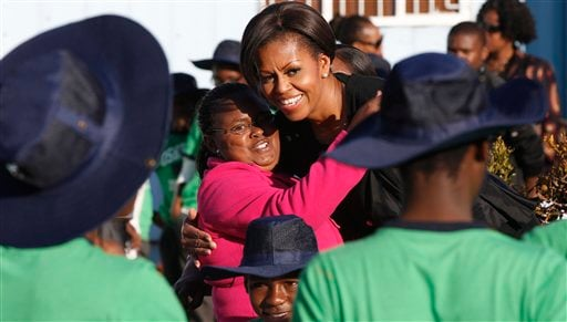 First lady Michelle Obama visits a community service project at Vhuthilo Community Center in Soweto township, Johannesburg, South Africa, Wednesday, June 22, 2011.