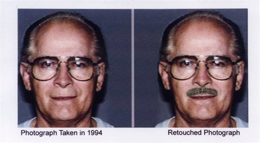 """This combo of headshots shown during a publicity campaign to locate the fugitive mobster James """"Whitey"""" Bulger. (AP Photo/FBI)"""