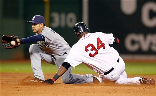 San Diego Padres shortstop Jason Bartlett gathers in a late throw as Boston Red Sox's David Ortiz (34) steals second base during the fifth inning of a baseball game at Fenway Park in Boston on Tuesday, June 21, 2011. (AP Photo/Elise Amendola)