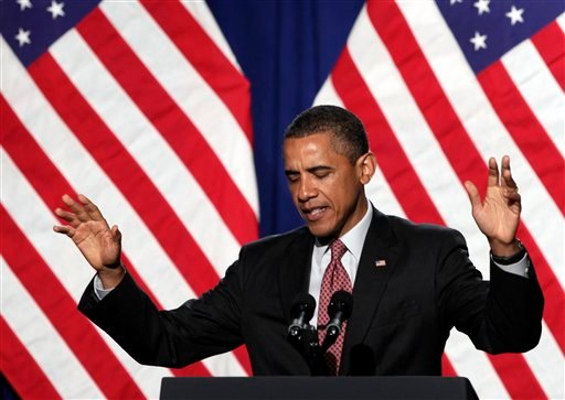 President Barack Obama gestures as he speaks during a Democratic National Committee event at the Sheraton New York Hotel and Towers, Thursday, June 23, 2011, in New York.