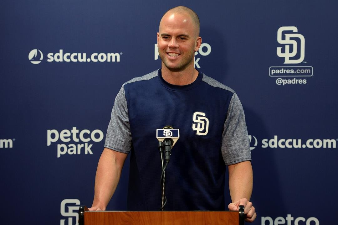 San Diego Padres' Clayton Richard speaks to members of the media in regards to his contract extension before the baseball game against the Arizona Diamondbacks Wednesday, Sept. 20, 2017, in San Diego. (AP Photo/Orlando Ramirez)