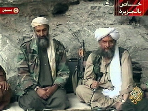 FILE - In this Oct. 7, 2001 file photo, Osama bin Laden, left, and his top lieutenant Egyptian Ayman al-Zawahri, right, are seen at an undisclosed location in this television image broadcast.