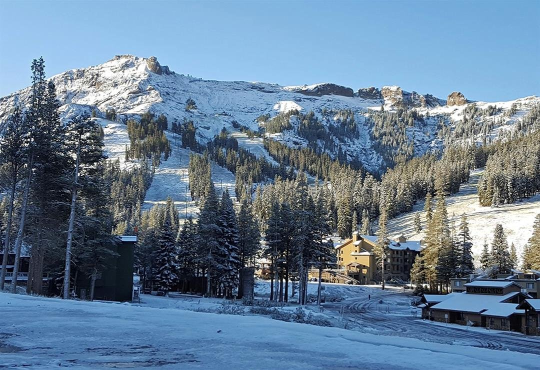 In this image provided by Kirkwood Mountain Resort, the first snow of the season is seen looking up at the Wall ski run Thursday, Sept. 21, 2017, in Kirkwood, Calif. (Kirkwood Mountain Resort via AP)