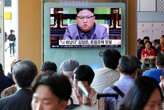 North Korean leader Kim Jong Un delivering a statement in response to U.S. President Donald Trump's speech.