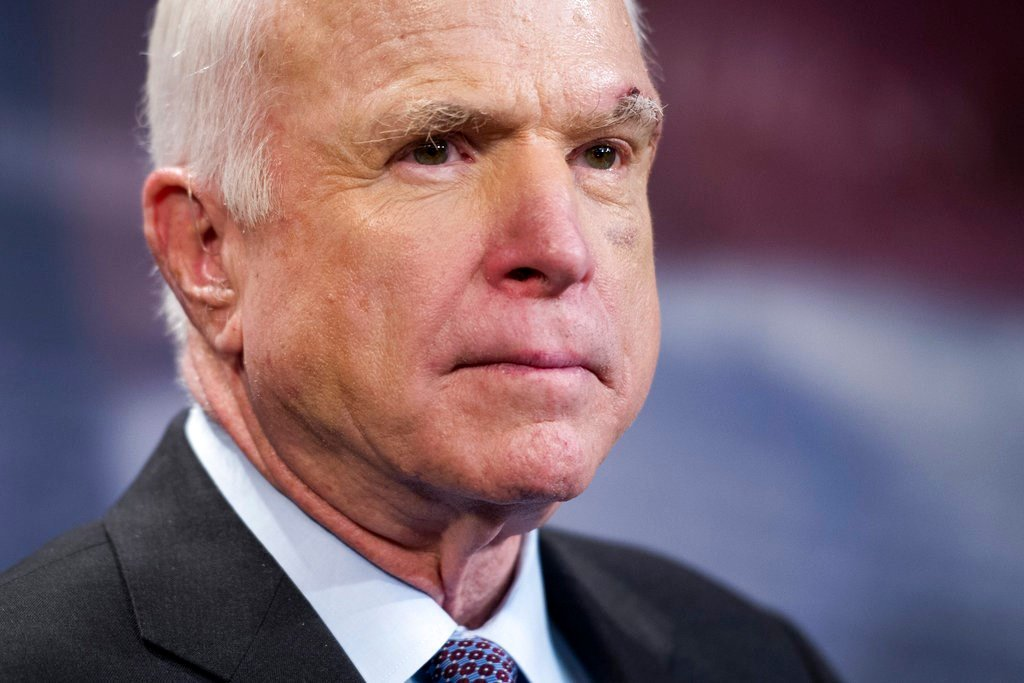 Sen. John McCain, R-Ariz., speaks to reporters on Capitol Hill in Washington.